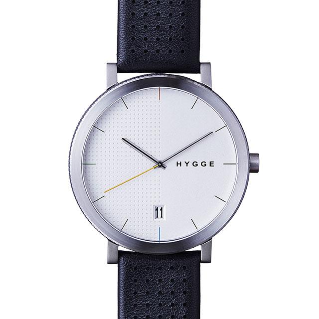 【10%OFFクーポン対象】ヒュッゲ 2203 BLACK LEATHER/WHITE DIAL ブラックレザー ホワイトダイアル HGE020065 腕時計 ユニセックス HGE020065 おしゃれ かわいい フォーマル HYGGE 時計