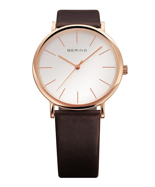 <クーポン除外品>ベーリング Mens Classic Calf Leather 腕時計 13436-564 ホワイト&ローズゴールド&ブラウン 13436-564 おしゃれ かわいい フォーマル BERING 時計 デザイン