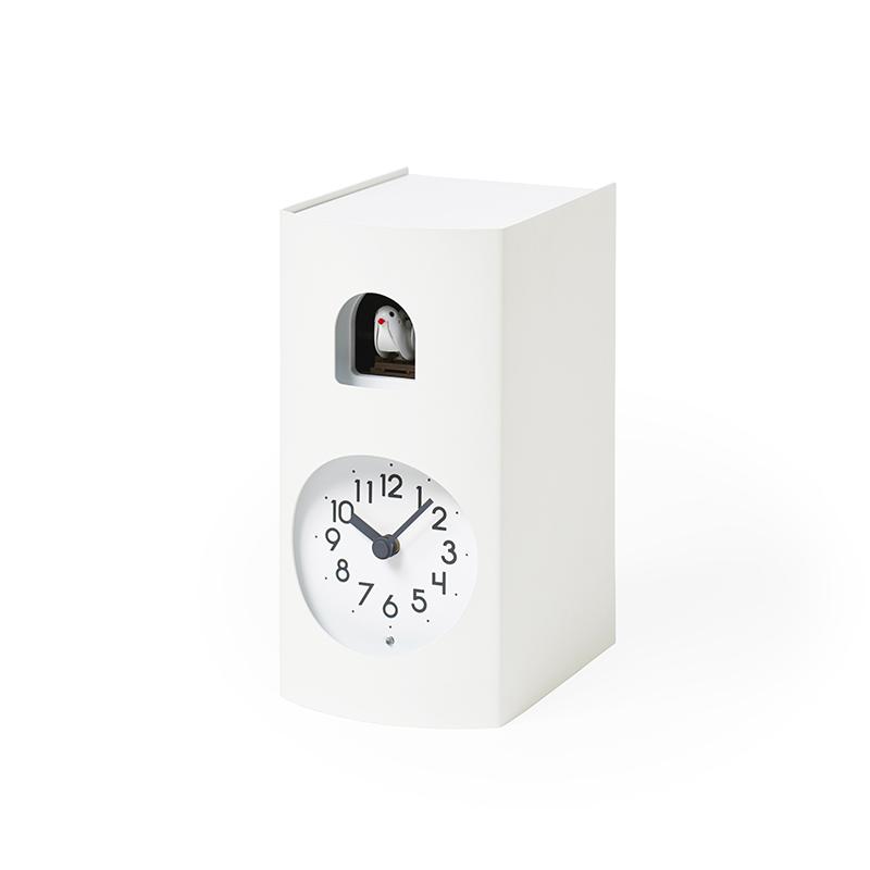 【500円クーポン対象】レムノス Bockoo カッコー時計 ホワイト GF17-04 W GF17-04WH おしゃれ かわいい Lemnos 日本製 モダン 北欧スタイル シンプル デザイナーズ 鳩時計 からくり時計 置き時計 掛け置き兼用 時報 見やすい 誕生日 結婚祝い 出産祝い 引越し祝い 改装祝い