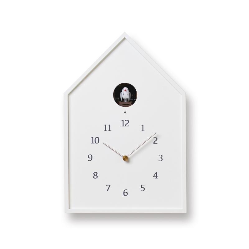 【700円クーポン対象】レムノス Birdhouse Clock カッコー時計 ホワイト16-12 WH NY16-12WH おしゃれ かわいい Lemnos 日本製 モダン 北欧スタイル 鳩時計 からくり時計 置き時計 掛け時計 掛け置き兼用 誕生日 結婚祝い 出産祝い 引越し祝い 改装祝い 送別 退職 内祝い 新築