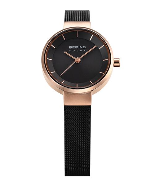 <クーポン除外品>ベーリング 腕時計 14627-166 ブラック/ローズゴールド レディース 14627-166 おしゃれ かわいい フォーマル BERING Ladies Scandinavian Solar ゴールド 女性
