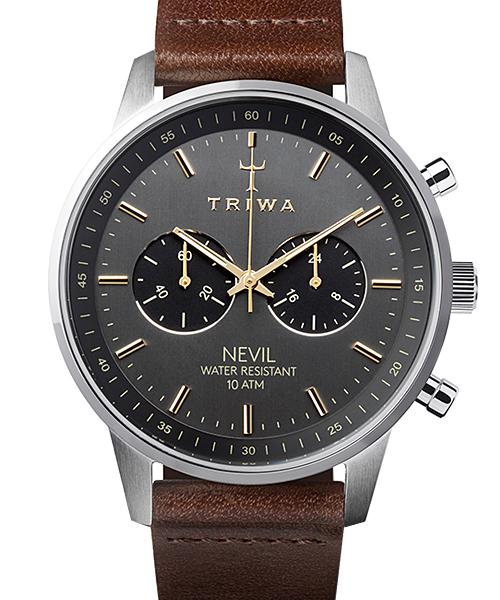 トリワ 腕時計 NEVIL SMOKY NEST114-CL010412 ブラック/シルバー/ブラウン ユニセックス 男女兼用 時計 NEST114-CL010412 就職祝い 入学祝い おしゃれ かわいい フォーマル TRIWA 正規品 男性 女性 メンズ レディース デザイン デザイナーズ 北欧デザイン  誕生日 結婚祝い