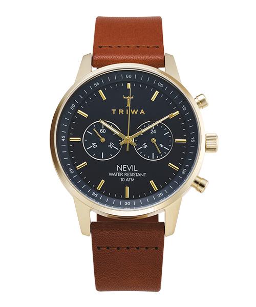 <クーポン除外品>トリワ 腕時計 AQUATIC NIKKI BROWN CLASSIC SUPER SLIM NKST104-SS010217 ブルー/ゴールド/ブラウン ユニセックス おしゃれ かわいい フォーマル TRIWA 正規品