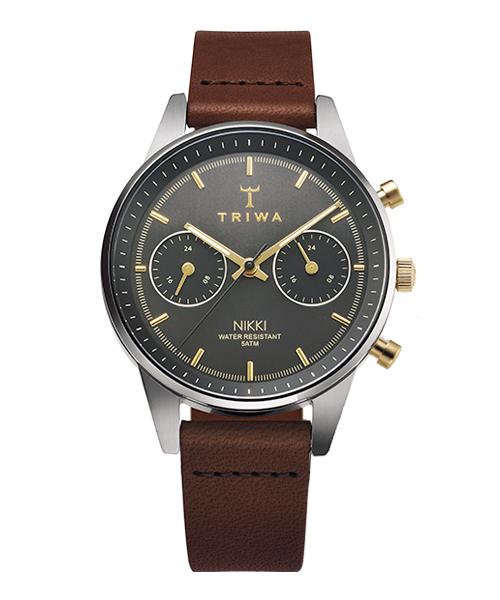 <クーポン除外品>トリワ 腕時計 TRIWA SMOKY NIKKI DARK BROWN CLASSIC SUPER SLIM NKST103-SS010412 ブラック/シルバー/ブラウン ユニセックス おしゃれ かわいい フォーマル TR