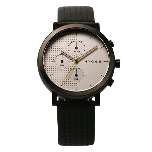 2000円クーポン対象 ヒュッゲ 2204 Leather White dial Black case 腕時計 ユニセックス5A4RLj3