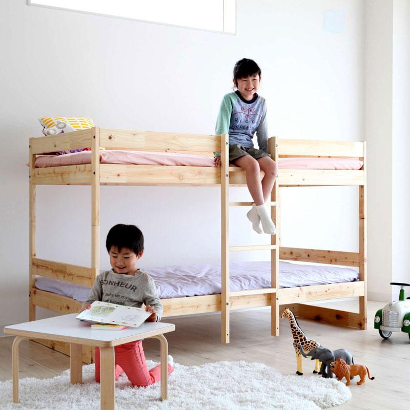 【2000円OFFクーポン対象】ホームカミング NH01 ひのきの二段ベッド ナチュラル おしゃれ かわいい Homecoming 2段 二段 ベッド 寝具 シングルベッド 木製 木のベッド スノコベッド シンプル 子供 キッズ【送料無料】
