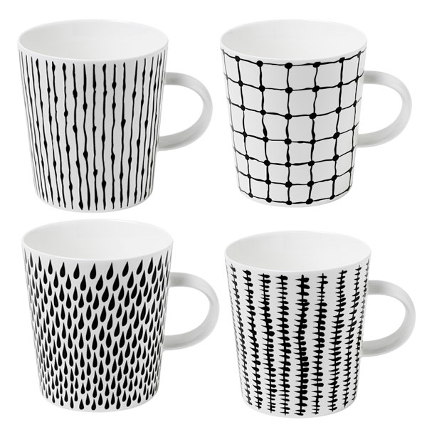 디자인 하우스 스톡홀름 보노 커피잔 (핸들 포함) 4 개 세트