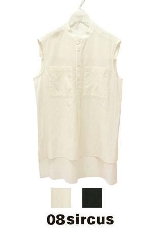 【2020SS◇NEW】☆08sircus☆Wポケットノースリーブプルオーバーシャツ(オフホワイト・ブラック)S20SL-TS02