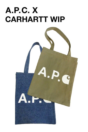 【2020SS◆NEW】☆A.P.C.xCARHARTT WIP☆ロゴトートバッグ(2types)