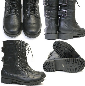 Tank military boots and lace-up boots and soil