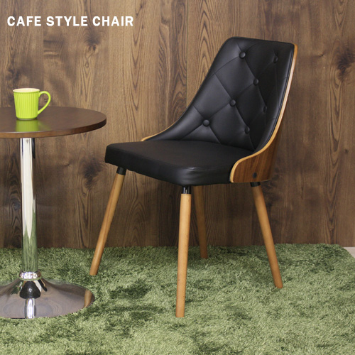北欧アンティーク風 チェア ブラック PUレザー ウォールナット 黒 木製脚 カフェ風チェア おしゃれ デザイナーズチェア風 ダイニングチェア イス 椅子 かわいい 人気