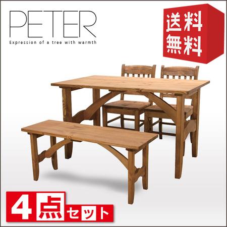 ダイニングセット 4点 PETER ピーター   【代引不可】 ダイニングテーブルセット ダイニングテーブル 4点セット 北欧 カントリー パイン ベンチ 木製 送料無料 おしゃれ 4人 4人用 4人掛け セール