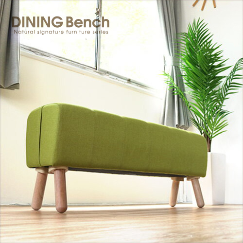 ダイニングベンチ 北欧風 グリーン ダイニング スツール ベンチチェア 木製 天然木 椅子 背もたれなし ナチュラル ファブリック 布地 人気 おしゃれ 可愛い