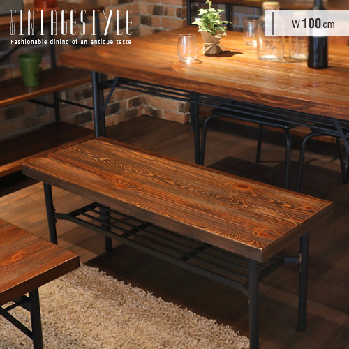 ダイニングベンチ 100 アイアン スチール 北欧 アンティーク風 カフェ風 ベンチチェア 2人掛け 木製 玄関 コンパクト パイン材 インダストリアル風 人気 おすすめ オシャレ