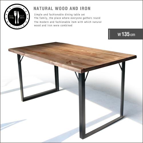 【送料込】 ダイニングテーブル 135 無垢 無垢材 アイアン 脚 ブラック 4人 4人掛け 4人用 幅135cm 135cm アンティーク 一枚板風 北欧 和風 モダン 和モダン 天然木 木製 カフェ風 おしゃれ gkw