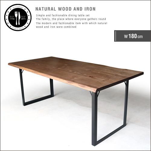 【送料込】ダイニングテーブル 180 無垢 無垢材 アイアン 脚 ブラック 6人 6人掛け 6人用 幅180cm 180cm アンティーク 一枚板風 北欧 和風 モダン 和モダン 天然木 木製 カフェ風 おしゃれ gkw