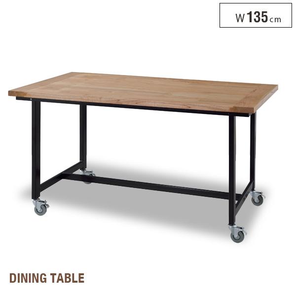 【送料込】 キャスター付き ダイニングテーブル 135 北欧風 木製 長方形 移動テーブル 食卓テーブル リビングテーブル インテリア コンパクトテーブル シンプル おしゃれ モダン 1人暮らし かわいい 送料無料