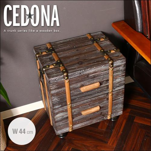 【送料込】 トランク風ワゴン SEDONA セドナ ヴィンテージ 2段 アンティーク風 44 北欧風 木製 木箱 ビンテージ風 レトロ 引出 収納 整理 便利 インスタ映え インテリア 家具 人気 おしゃれ セール