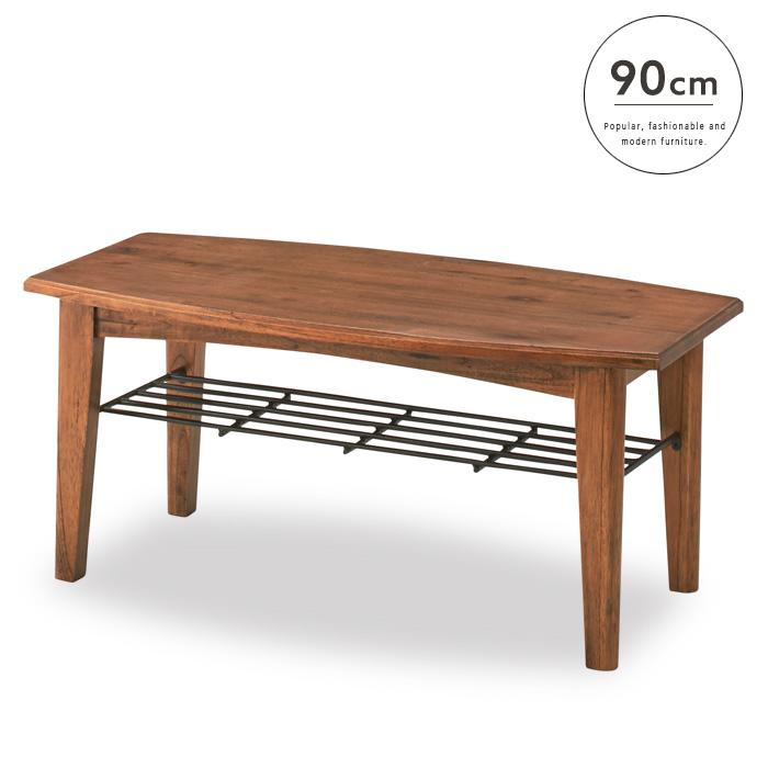 【送料込】木製 コーヒーテーブル 90 Rosario ロサリオ アンティーク 北欧 レトロ 木 木目 カントリー センターテーブル カフェテーブル 棚 棚付き 収納 便利 シンプル かわいい おしゃれ 送料無料