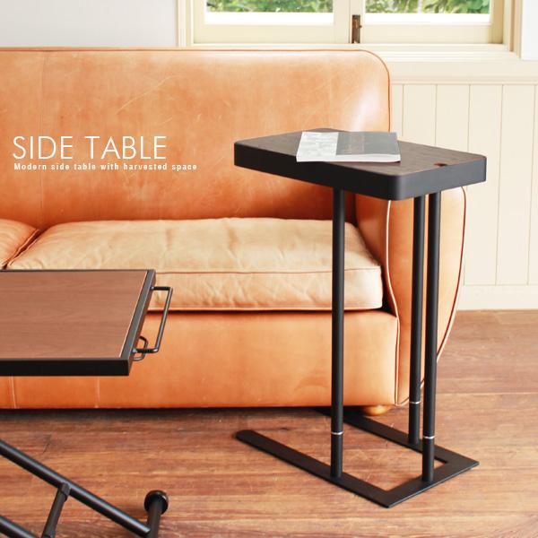 ベッドサイドテーブル ソファサイドテーブル おしゃれ 北欧風 アンティーク風 ウォールナット突板 木製 高さ60cm 高さ70cm スチール脚 収納付き 人気 おすすめ