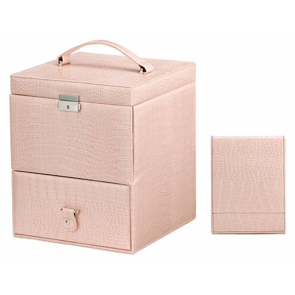 ご注文で当日配送 スプレー缶など長い物も収納可能なうえ 上部手前には小さなアクセサリーを入れることもできる 使いやすいコスメボックスです 流行のアイテム 送料無料 ピンク ハンドミラー付き ※包装のしメッセージカード無料対応 クロコ型押コスメBOX