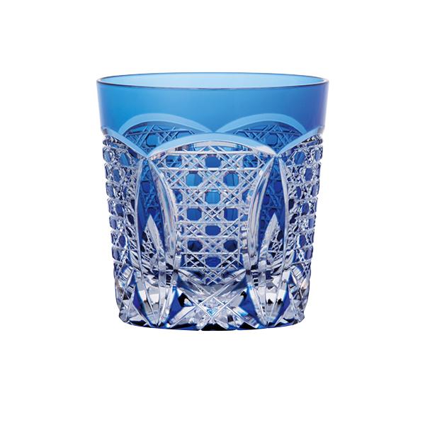 送料無料|江戸切子ロックグラス(瑠璃色)|※包装のしメッセージカード無料対応