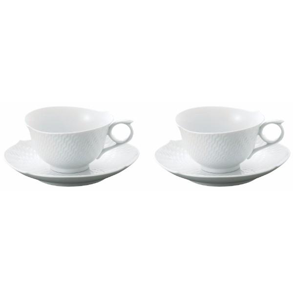 送料無料 Meissen / 波の戯れ ホワイト ペアティーカップ&ソーサー ※包装のしメッセージカード無料対応