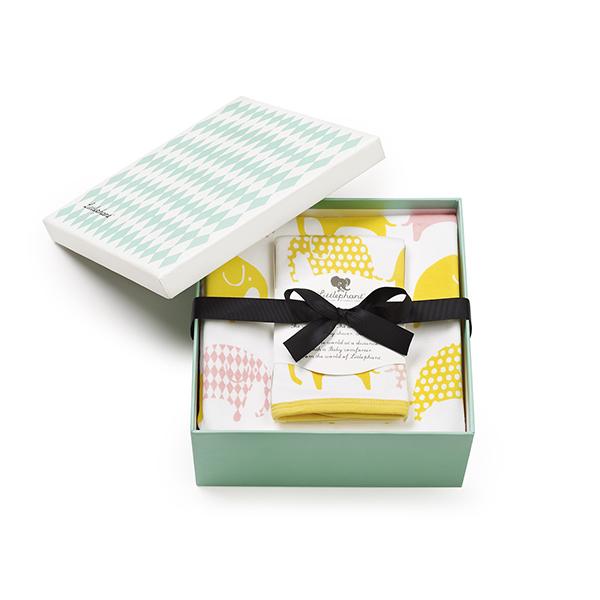 送料無料|リトルファント / ブランケット&ハンカチセット Elephant-White/yellow/pink