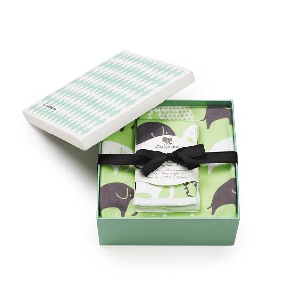 お子様用のブランケットとタオルです 値引き お出かけのお供に活躍します 贈り物に喜ばれます 送料無料 リトルファント 在庫あり ブランケット ハンカチセット gray Elephant-Green