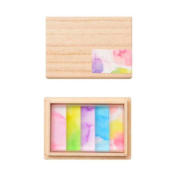水彩で描かれた淡い色の箸置き 水彩特有の霞みやぼやけ 色の重なりなど偶然できる色を箸置きにとじ込めました 安心の実績 高価 NEW 買取 強化中 toumei 木箱入り5個セット hashioki あわいろ
