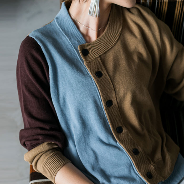 レディース トップス 羽織り バイカラー 変形 アシメ アシンメトリー カーデ 綿 綿100 安値 カーディガン 再再販 メール便不可 商品 送料無料 REV リブ コットン 配色 まるでレイヤードしたようなデザインが魅力的 レイヤード風