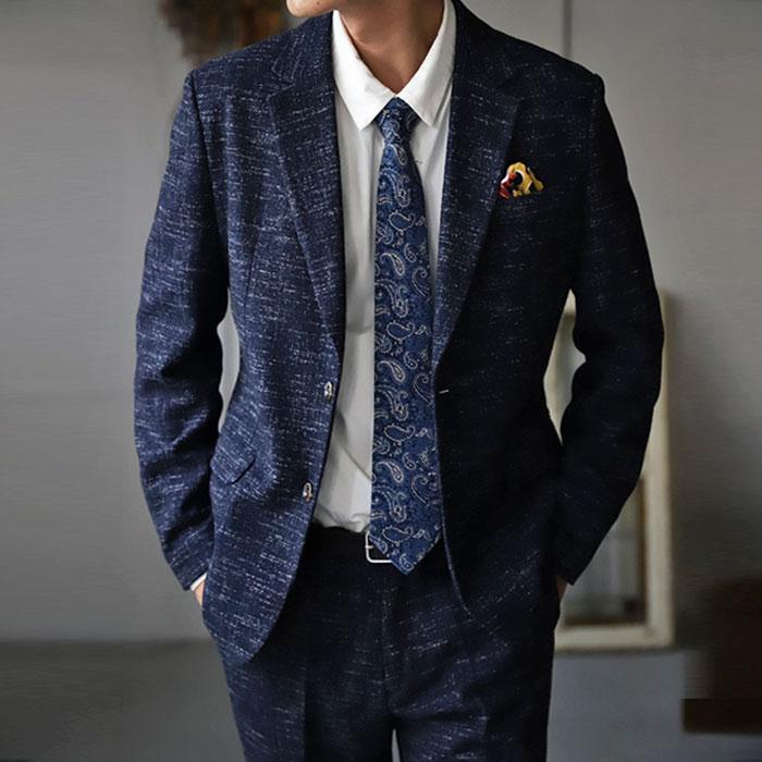 メンズ メンズスーツ 2点セット ツイード ジャケット パンツ ボトムス セットアップ ベーシック オフィス カジュアルスーツ ビジネス パーティー 結婚式 二次会 フォーマル 春 スーツ ツイード調で、落ち着いた大人の雰囲気漂わせる装い。・メール便不可【Z】
