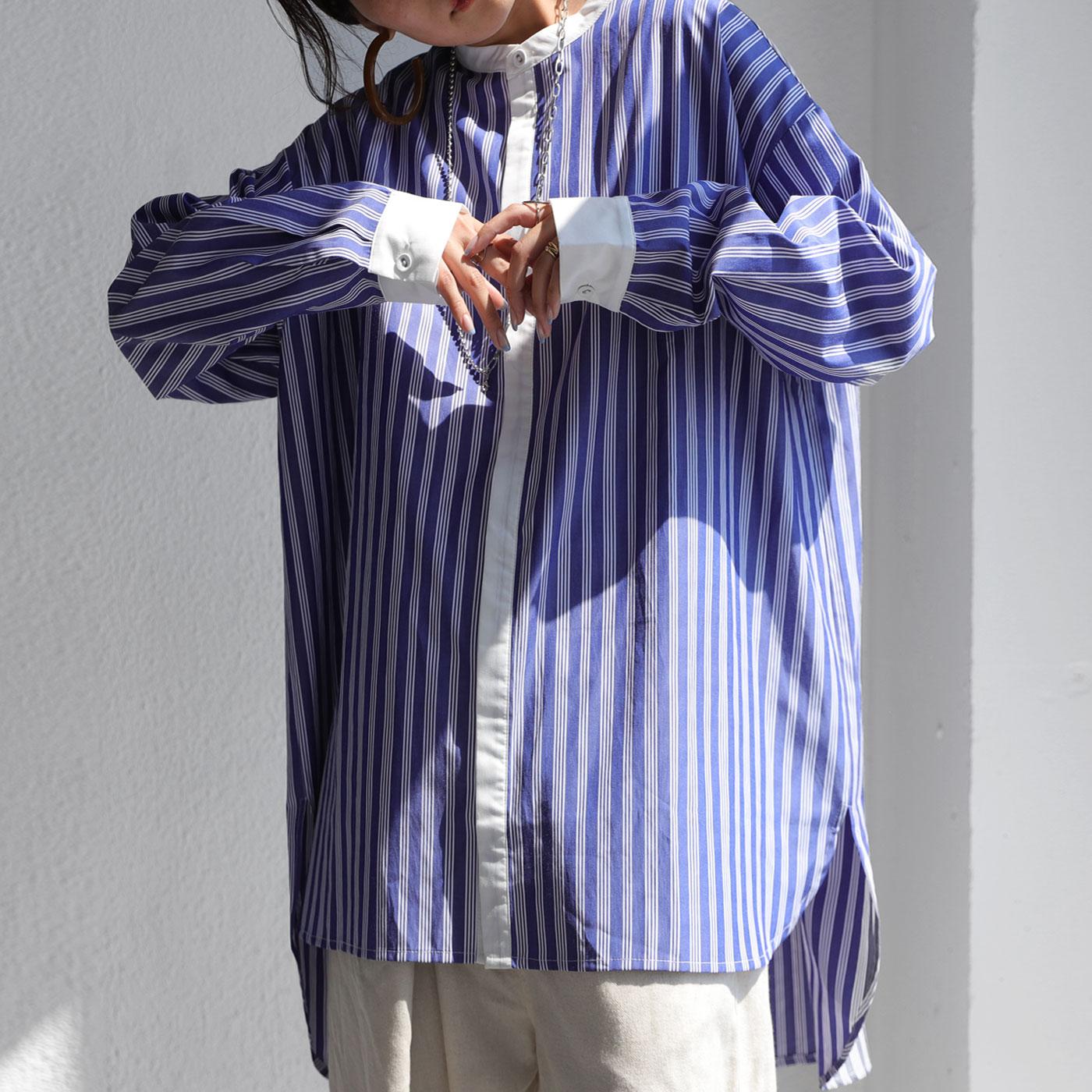 長袖 ストライプ 柄シャツ ゆったり 羽織り 全品最安値に挑戦 綿混 驚きの価格が実現 ユニセックス オーバーシャツ スタンドカラー バンドカラー 前後差 大きいサイズ 8月24日10時~再販 柄 送料無料 ストライプシャツ オーバーサイズ トップス レディース メール便不可 シャツ ビッグシルエット
