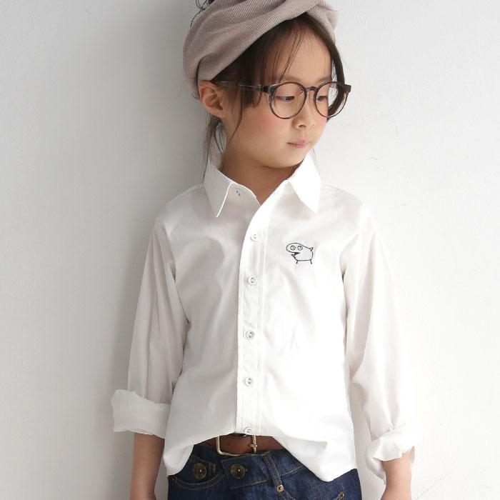 キッズ 子供服 女の子 男の子 トップス シャツ キッズトップス 長袖 白シャツ ワッペン 通園 通学 アンティカ シンプルなシルエット、愛嬌のある変わり種ワッペン。刺繍付きキッズシャツ・再再販。「G」(100)メール便可 TOY
