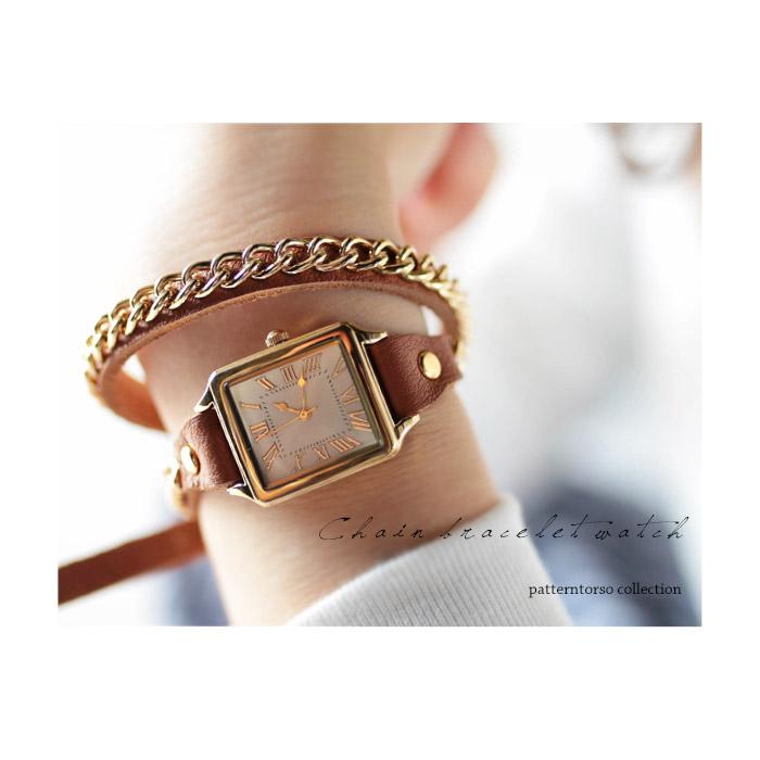 本革チェーンデザイン細ベルト腕時計・再再販。チェーンデザインをあしらった本革腕時計。『ブレスレット感覚。』「G」(50)メール便可
