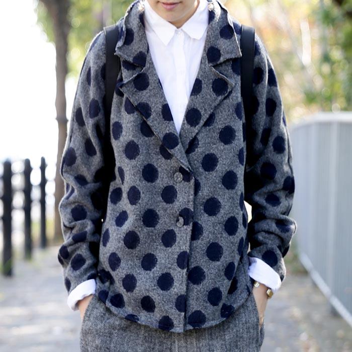 ウール混、カットオフのデザイン度の高さが出す高級感。ドットジャケット・##×メール便不可!