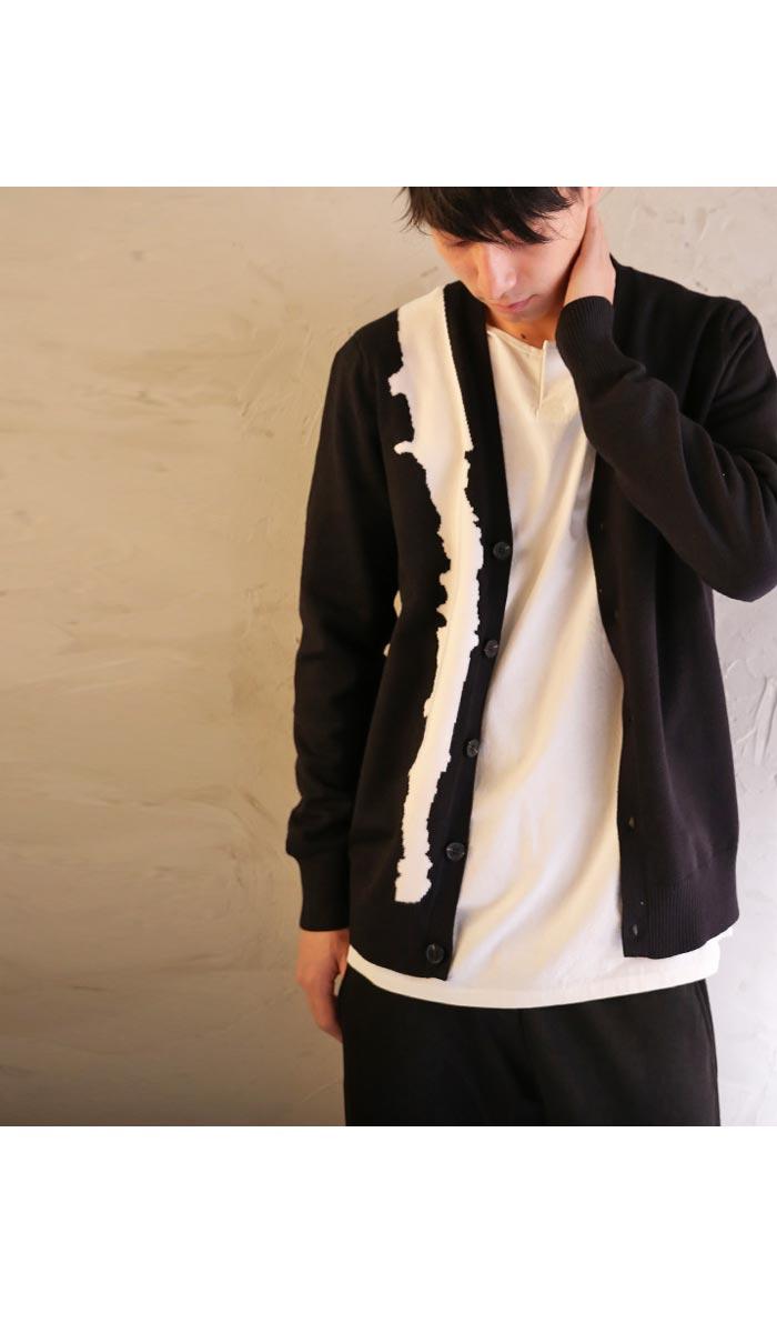 ニット カーデ 羽織り カーディガン 切り替え 大人 お洒落 antiqua アンティカ メンズ 柄 アートアートな発想で服 選び。デザインカーデ・11月25日20時~発売。