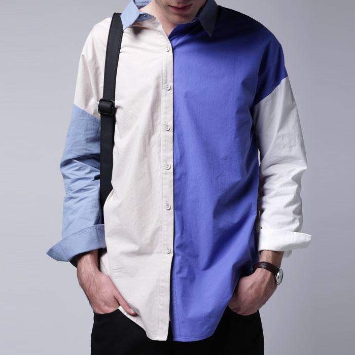 フレンチシックな洗練されたカラーリング。ブロッキングカラーシャツ・1月29日20時~再再販。「G」(80)◎メール便可!