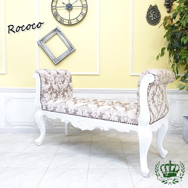 フレンチロココ ベンチスツール 白家具 ホワイト ピンク ダマスク 花柄 1163-L-18F68B