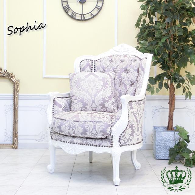 ソフィア シングルソファ ウィング ハイバックロココ 白家具 ホワイト ダマスク 花柄 ピンク 1008-1W-18F68B