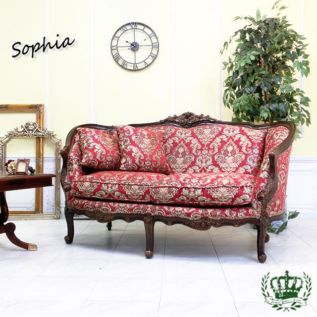 ソフィア ダブルソファ ロココ ダマスク 花柄 レッド 赤 1008-2-5F101