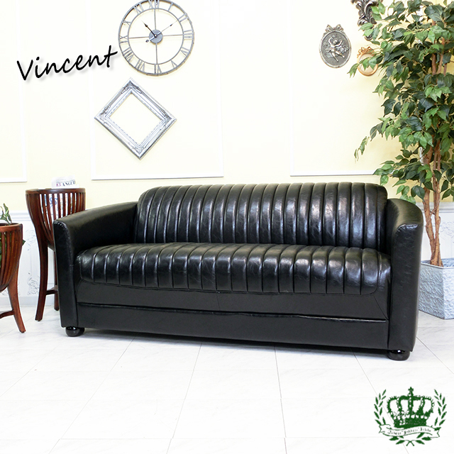 ヴィンセント トリプルソファ フェイクレザー ブラック 黒 VR3P51K