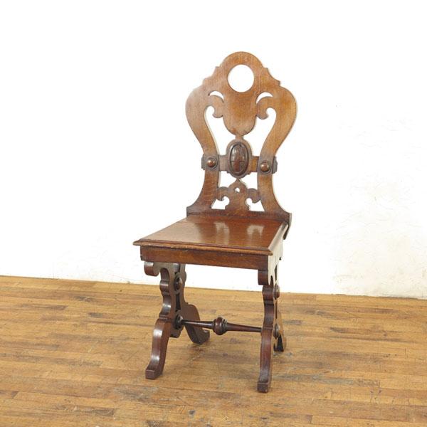 予約販売 チェア 木製の座面 背もたれの美しいデザイン ホールチェア 玄関 イギリスアンティーク家具 アンティークフレックス 56184, リクベツチョウ 998c1ea3