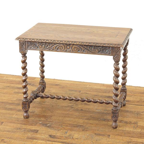 サイドテーブル 個性的なデザイン オーク材の美しい木目 ツイストと彫刻が魅力 フランス アンティークフレックス 63011