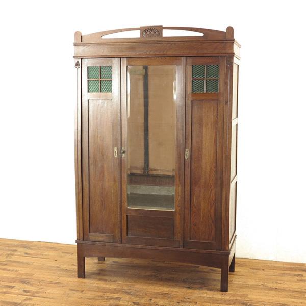 英国 ワードローブ 大きめサイズ 衣類収納 グリーンのガラスも魅力 イギリスアンティーク家具 アンティークフレックス 27281