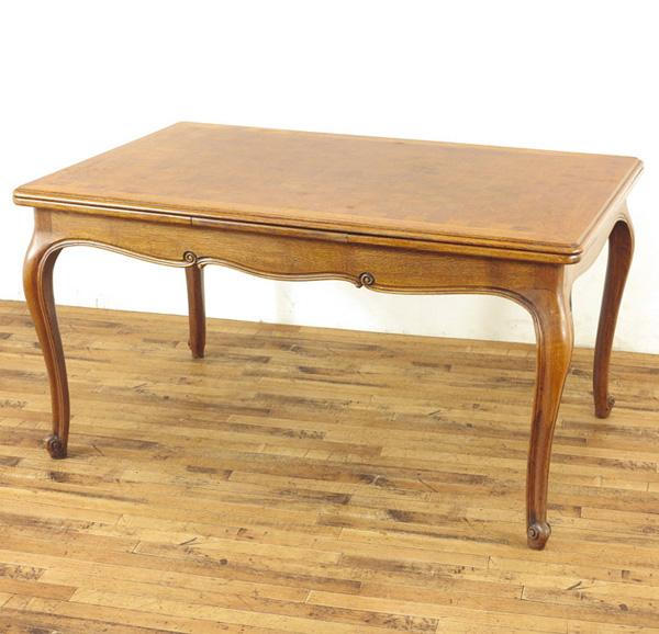 1940年頃 オーク材 ダイニングテーブル 木目を活かした天板のデザイン ドローリーフテーブル フランス アンティークフレックス 国際ブランド 猫脚 63488 キャンペーンもお見逃しなく 食卓テーブル 拡張時252cm 伸長式ダイニングテーブル