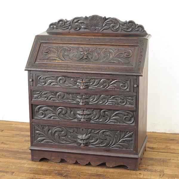 1880年頃 イギリス アンティーク家具 ライティングビューロー 素晴らしい彫刻 美しいパテナ アンティークならではの魅力 55384