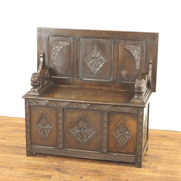 ベンチテーブル ベンチ兼テーブル 座面下には収納付き モンクスベンチ アカンサスの彫刻 イギリスアンティーク家具 55416