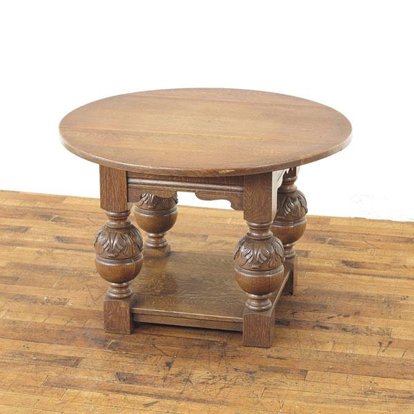 丸型のコーヒーテーブル オーク無垢材の温もり 素朴な雰囲気 フランス 1930年頃 サロンテーブル ローテーブル ほど良いサイズ感 62957