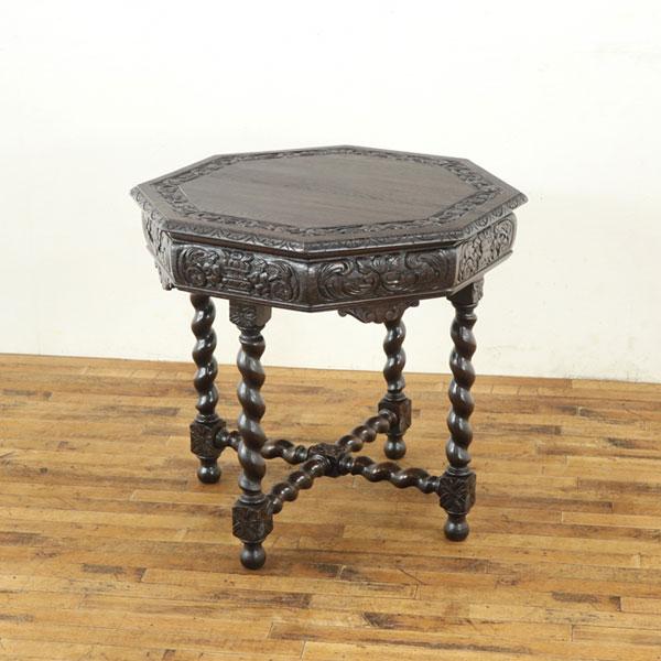 ルネッサンス様式サイドテーブル 美しい彫刻 ティーテーブル フランスアンティーク家具 アンティークテーブル 63008